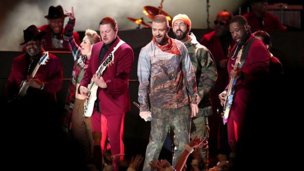 Justin Timberlake performs at the Super Bowl
