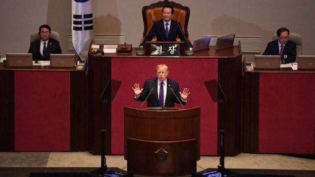 特朗普在韓國議會發表講話