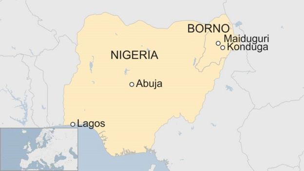 BBC map of Nigeria showing Konduga