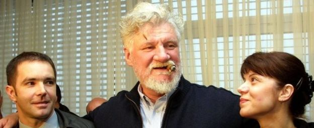 Slobodan Praljak (centre) with his son and son's wife in Zagreb, Croatia. Photo: April 2004