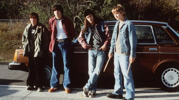 1999 (l to r) Edward Furlong, Guiseppe Andrews, James DeBello, and Sam Huntington star in the new movie 'Detroit Rock City.'