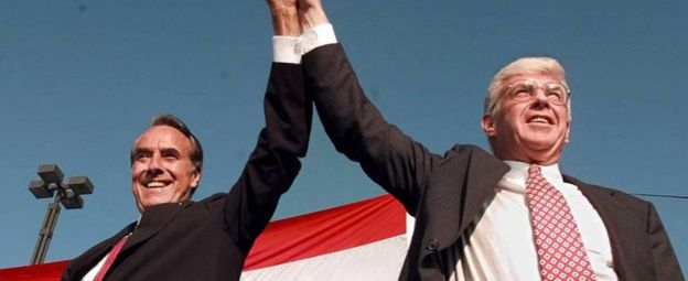 US Republican presidential candidate Bob Dole (L) and vice presidential candidate Jack Kemp (R) arrive for a welcoming rally in San Diego, California, 14 October 1996