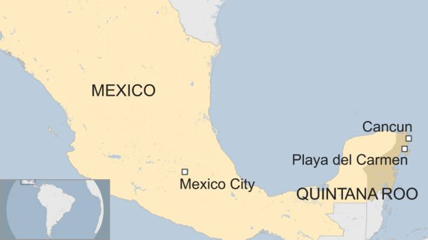 Mexico Violence Four Killed In Cancun Gunfight Bbc News: Map Of Cancun Area Of Mexico At Slyspyder.com