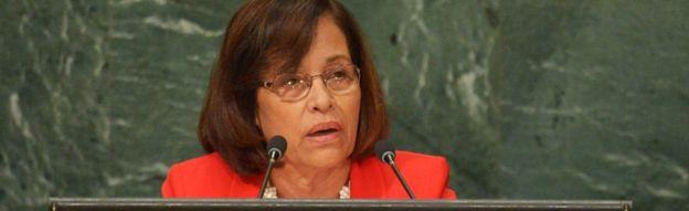 Marshall Adaları Başkanı Hilda Heine, Birleşmiş Milletler Genel Kurulu'nun 22 Eylül 2016'da New York'taki BM karargahında yapılan 71. oturumunu ele aldı