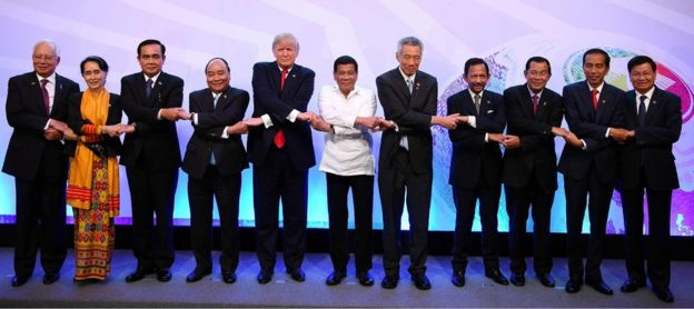 Trump and Duterte amid the other Asean leaders