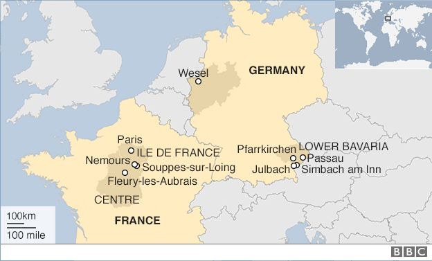 Paris floods seine set to peak as more rain forecast bbc news a map showing flood hit areas in france and germany gumiabroncs Image collections