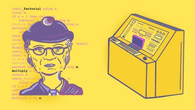 Ilustración de Grace Hopper y una computadora