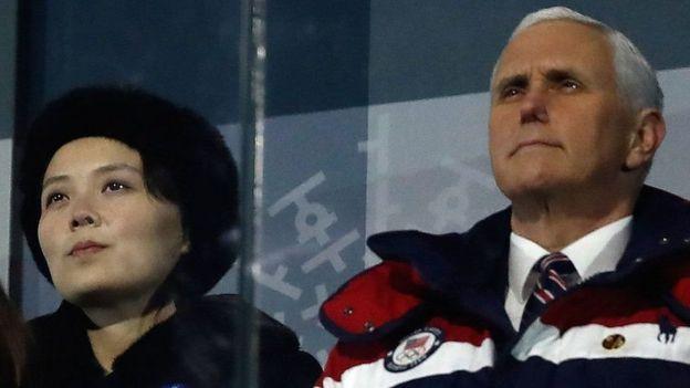 Kim Yo-jong y Mike Pence