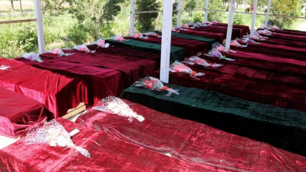 Coffins containing the victims of a Taliban attack on Afghan army officers