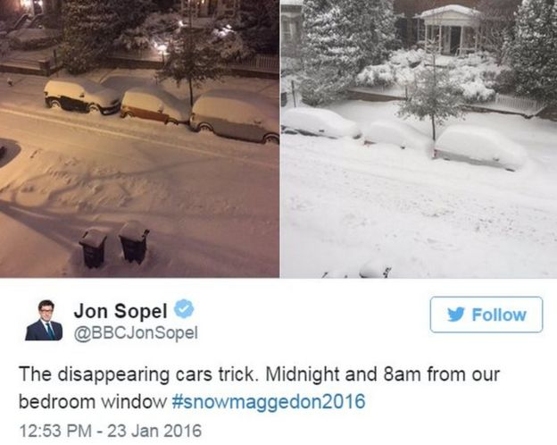 Tweet by BBC's Jon Sopel showing snow in Washington - 23 January 2016