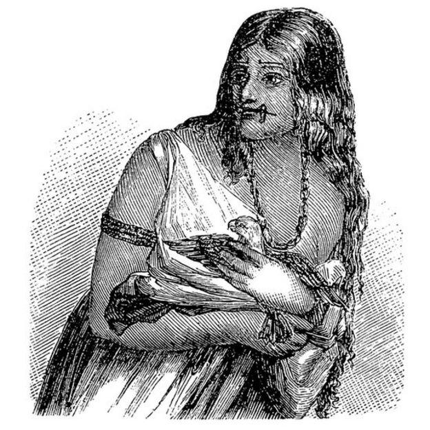Ilustração de uma índia warao feita em 1875.