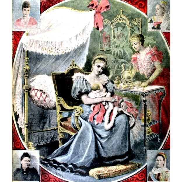 La Tsarina que aquí aparece en Rusia en 1895, dándole leche a la gran duquesa Olga.