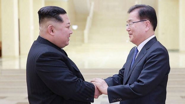 Kim Jong-un shakes hand with Chung Eui-yong head of South Korea's presidential National Security Office in Pyongyang (5 March 2018)