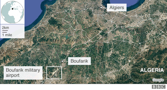 Map of Algeria showing Boufarik near Algiers in the north