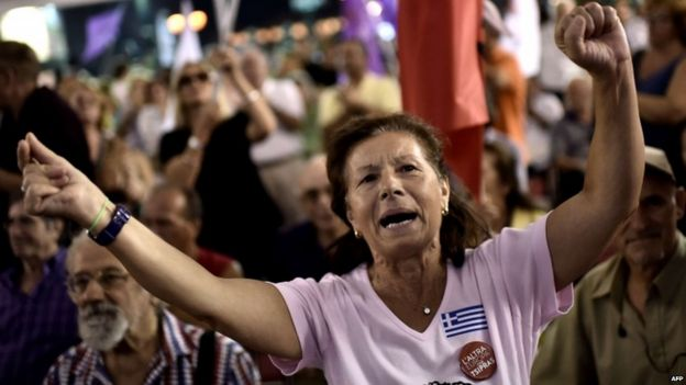 Syriza supporters celebrate victory in the Greek election