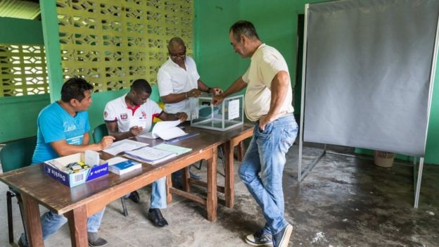 Polling is already under way abroad, as here in French Guiana