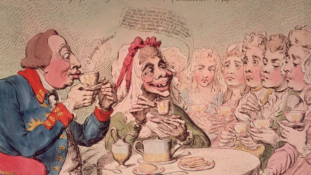 A rosy-cheeked couple, modelled on King George III and Queen Charlotte, advocate the consumption of unsugared tea,