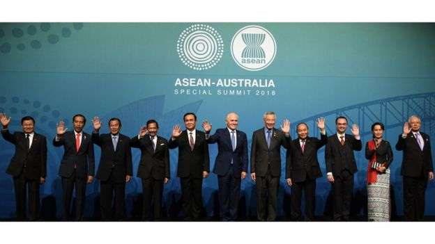 Các lãnh đạo Đông Nam Á cùng Thủ tướng Úc Malcolm Turnbull tại Hội nghị thượng đỉnh ASEAN - Úc hôm 17/3.