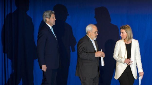 John Kerry, Mohammad Javad Zarif and Federica Mogherini on stage after the announcement of a deal of the Iran nuclear programme