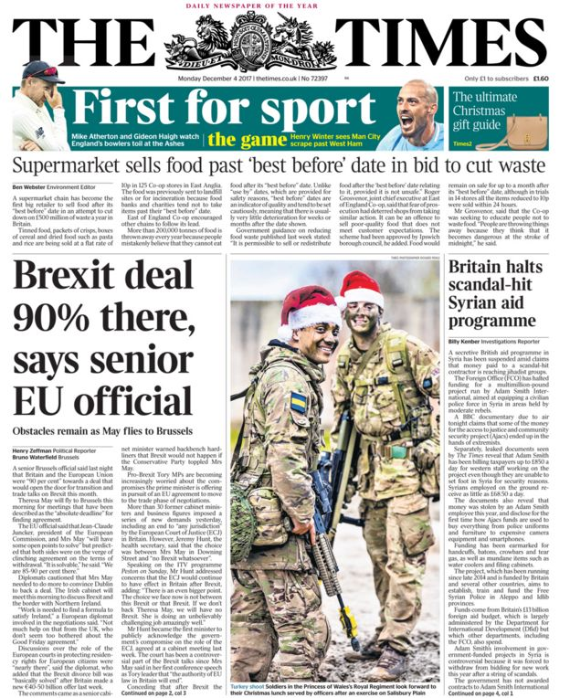Times front page - 04/12/17