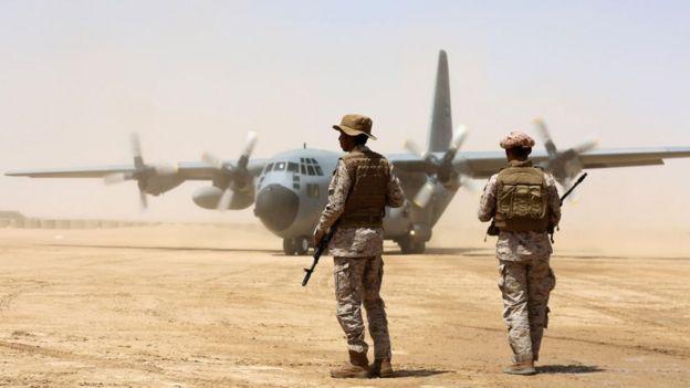 Soldados sauditas en Yemen.