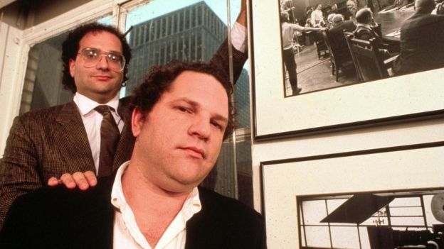 Harvey Weinstein and his brother Robert pictured in the 1980s
