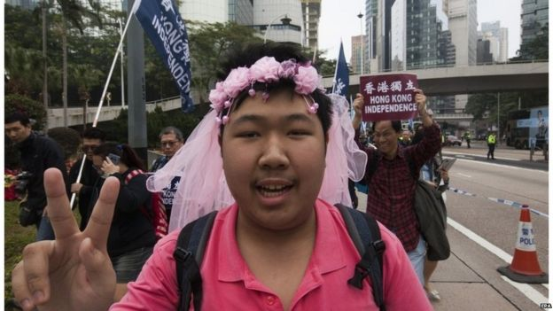Pro-democracy protester in Hong Kong