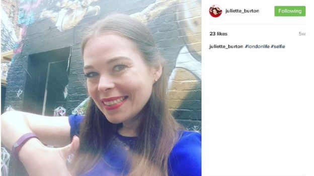 Juliette doing a selfie on Instagram