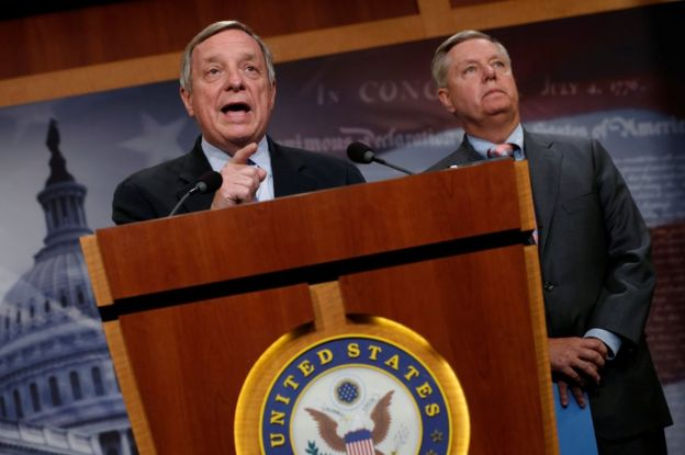 Senator Richard Durbin (left) and Senator Lindsey Graham at the US Capitol, 5 September