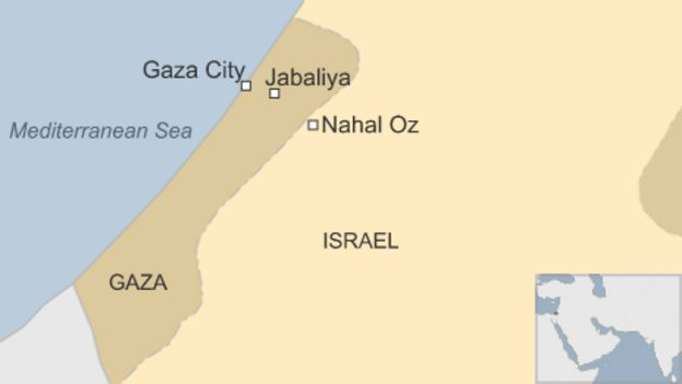 Map of Israel and Gaza