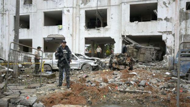 Un edificio destruido