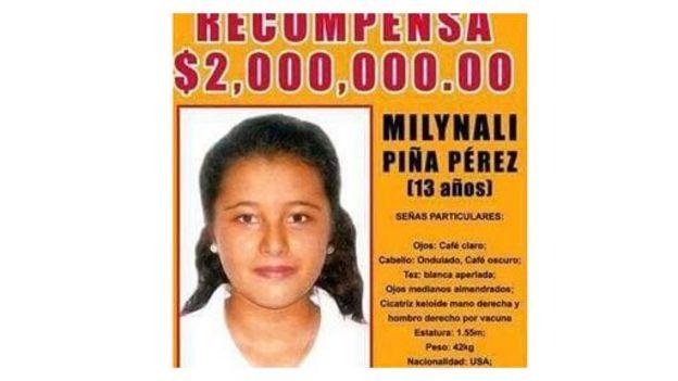 Pancarta ofreciendo recompensa por información sobre Milynali Piña Pérez, la hija de Graciela Pérez Rodríguez, que desapareció cuando tenía 13 años Foto: gentileza Ciencia Forense Ciudadana