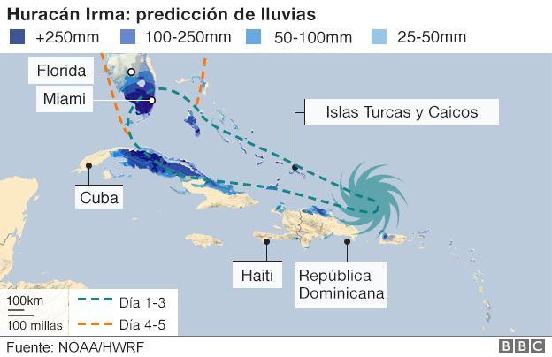 Mapa con la previsión de lluvias por Irma.