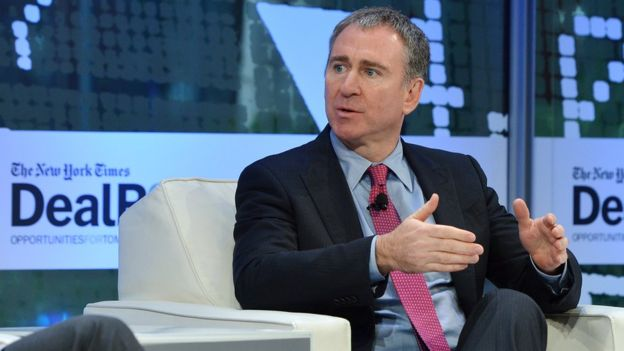 Kenneth C Griffin speaking at a New York Times event