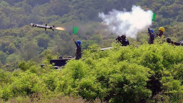 Taiwanese soldiers launch a US-made Javelin missile during the annual Han Guang life-fire drill in southern Pingtung on August 25, 2016.