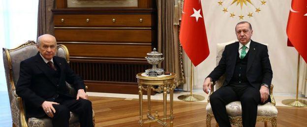 Devlet Bahçeli ve Recep Tayyip Erdoğan
