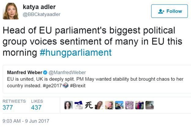 Tweet @BBCKatyaAdler'den Tweet: AB parlamentosu'nun en büyük siyasi grubu başkanı bu sabah birçok AB mahkemesinin kararlılığını dile getiriyor #hungparliament // Alıntılanan cıvıldamak: