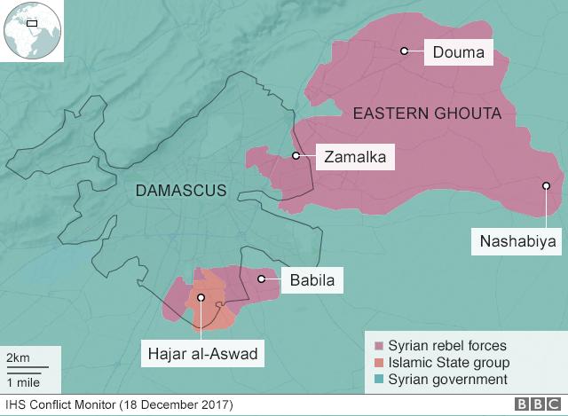 Mappa di Damasco e della Ghouta orientale, teatro di diversi attacchi chimici. Credits to: BBC.