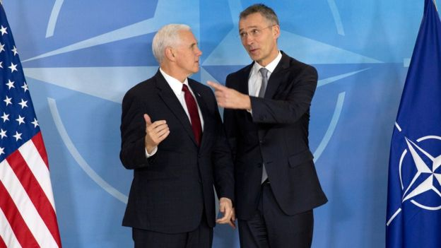 US Vice-President Mike Pence (L) and Nato Secretary General Jens Stoltenberg (R) in Brussels, Belgium, on 20 February 2017