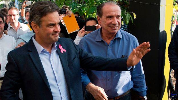 Aécio Neves e Aloysio Nunes na campanha presidencial de 2014
