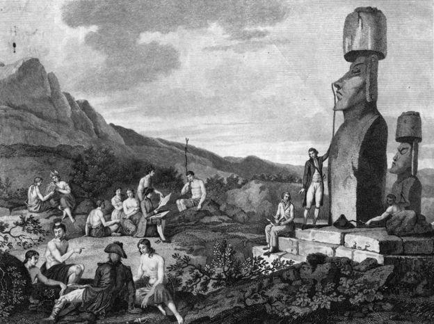 Ilustración de expedición a la Isla de Pascua.