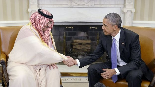 The crown prince, Mohammed bin Nayef, with Obama in the White House, in May 2016