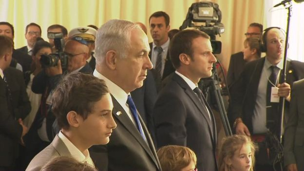 PM Netanyahu and President Macron paid tribute to the victims