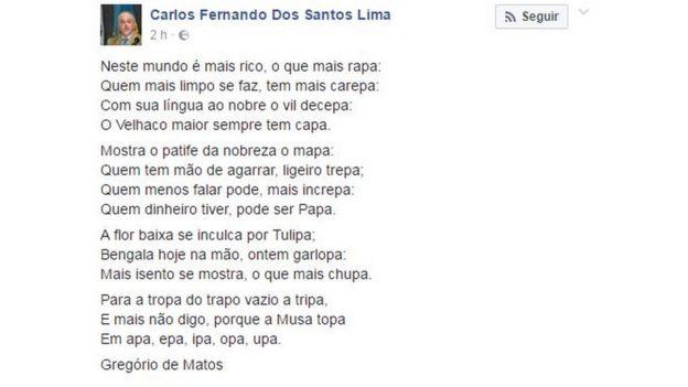 Publicação de Carlos Fernando dos Santos Lima no Facebook