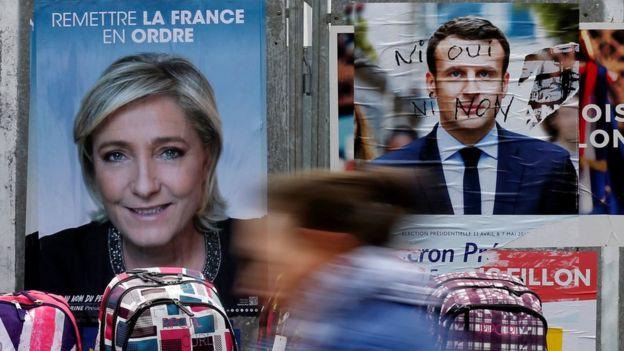 Posters de Marine Le Pen y Emmanuel Macron