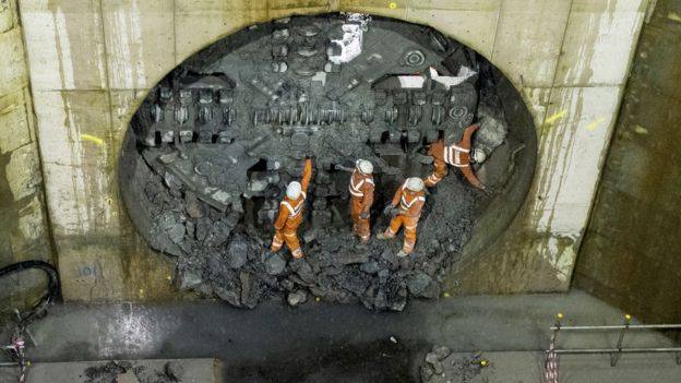 The giant boring machine, nicknamed Daisy the Driller, emerged beneath Glasgow's Queen's Park