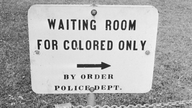 A sign in Jackson, Mississippi which reads 'Waiting Room For Colored Only by order Police Dept.', 25th May 1961.