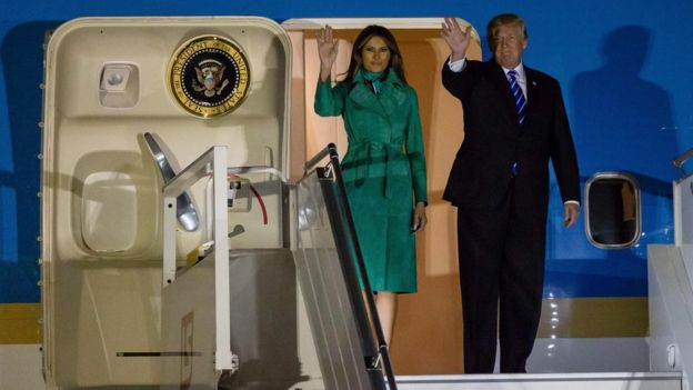 Donald y Melania Trump llegando a Hamburgo en el Air Force One.