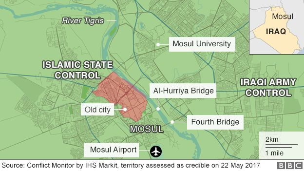 Map showing control of Mosul on 22 May 2017