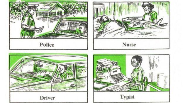 Un texto escolar de Nigeria que muestra prejuicios de género.